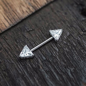 1 Piece Silver Triangle Zircon Nipple Ring Nipple Barbells