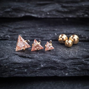 Yellow Triangle Zircon Triple Helix Tragus Earring Cartilage Piericings