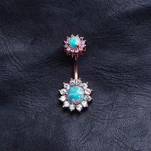 Opal Zircon Flower Belly Ring Belly Button Piercing flower belly rings Navel Piercing