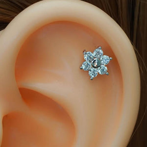 Flower ZirconCartilage Earrings Flower Tragus Piercing