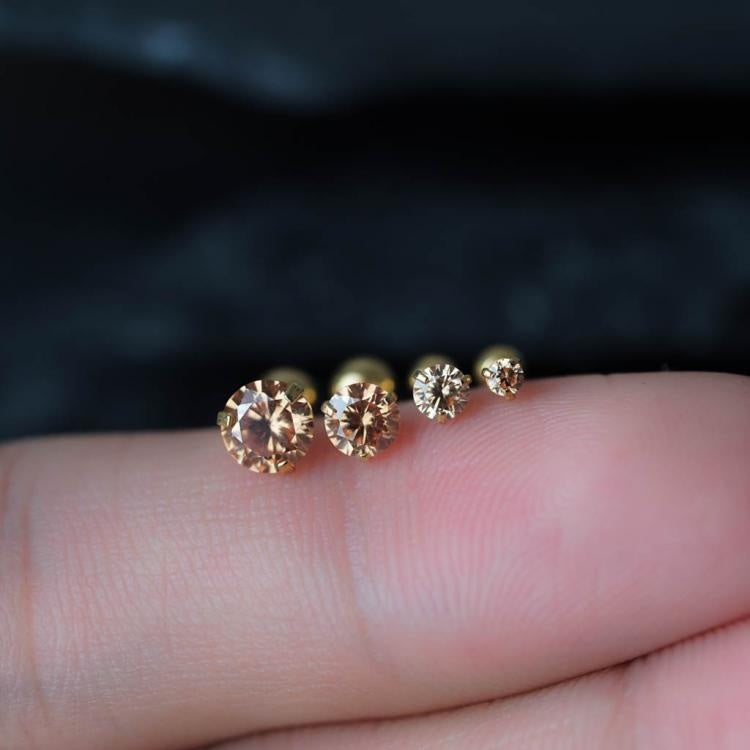 Yellow Zircon Triple Cartilage Piercings Tragus Earrings
