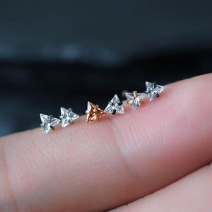 Triangle Zircon Nose Stud Bone Post Nose piercing nose ring sterling silver nose rings