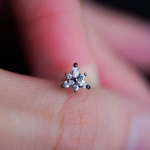 Triangle Flower Zircon Helix Earring Cartilage Earrings Flower Tragus Piercing Tragus earring