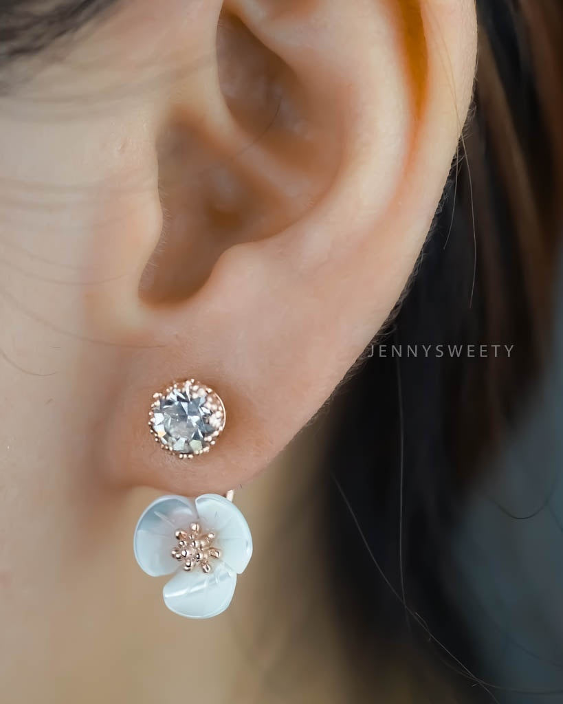 1 Pair Flower Ear Jacket Bridal Gift Ear Cuff Jacket