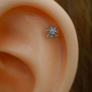 Flower Zircon Tragus Earring Cartilage Earrings Helix Piercing Flower Tragus Piercing