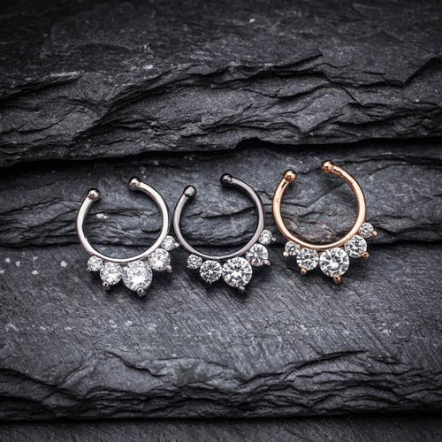 Flower Zircon Fake Septum Ring Septum Jewelry