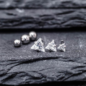 Triangle Zircon Triple Helix Tragus Earring Cartilage Piericings