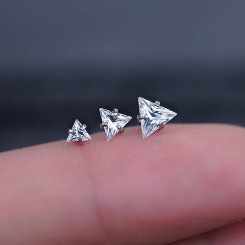 Triangle Zircon Trio Helix Tragus Earring Cartilage Piericings