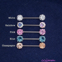1 Piece Prong Zircon Nipple Ring Nipple Barbells