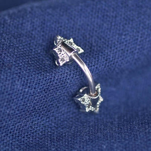 Double Sparkle Triangle Zircon Belly Button Ring