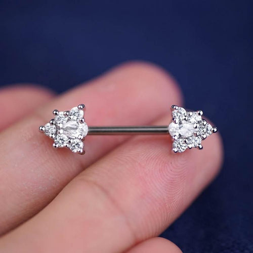 1 Piece Silver Sparkle Triangle Zircon Nipple Ring Nipple Barbells