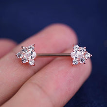 1 Piece Rose Gold Sparkle Triangle Zircon Nipple Ring Nipple Barbells