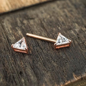 1 Piece Gold Triangle Zircon Nipple Ring Nipple Barbells