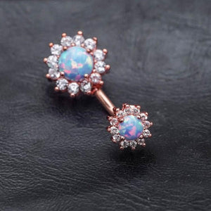 Opal Zircon Flower Belly Button Rings