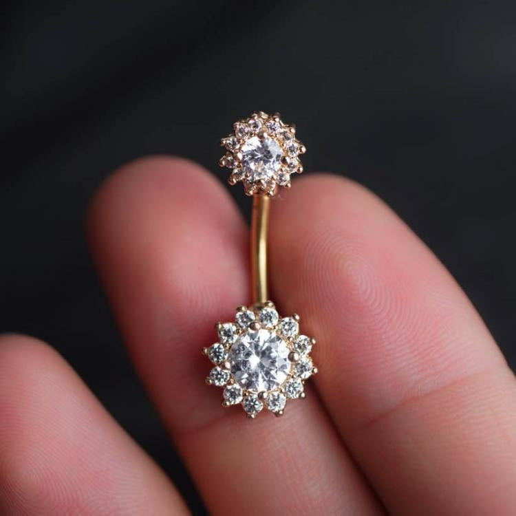 Clear Zircon Flower Belly Ring Belly Button Piercing Flower Belly Rings  Navel Piercing ...
