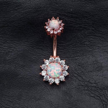 Flower Fire Opal Zircon Belly Button Ring