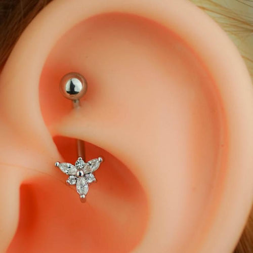 Silver Zircon Triangle Flower Daith Earring Eyebrow Piercing Hook Piercing Snug Piercing