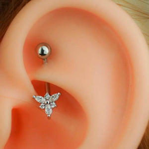 Rose Gold Zircon Triangle Flower Daith Earring Eyebrow Piercing Hook Piercing Snug Piercing