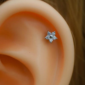 Tiny Flower Zircon Tragus Earring Cartilage Earrings Helix Piercing Flower Tragus Piercing