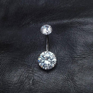 Double Clear Zircon Belly Button Ring