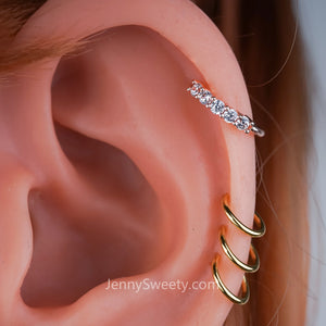 Sparkle Zircon Hoop Daith earring Daith piercing Cartilage Septum Ring