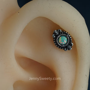Eye Opal Cartilage Earring Helix Earring Cartilage Stud Conch Piercing