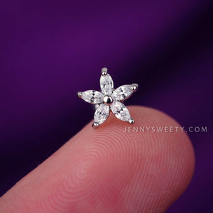 Flower Zircon Cartilage Earrings Helix Piercing Tragus Earrings Tragus Jewelry