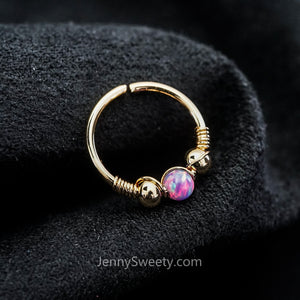 Opal Daith Earrings Hoop Septum Ring