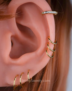 Classic Zircon Cartilage Piercing Daith Earring Hoop Nose Hoop
