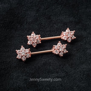 1 Piece Flower Zircon Nipple Ring Nipple Barbells