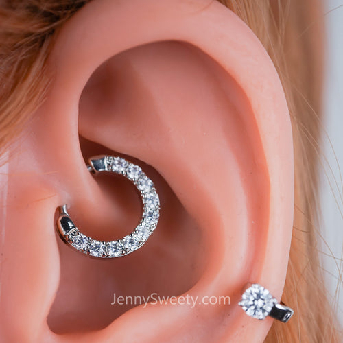 Sparkle Zircon Daith Earring Cartilage Septum Ring Hoop