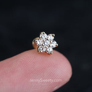 Sparkle Flower Zircon Helix Cartilage Tragus Earring Labret
