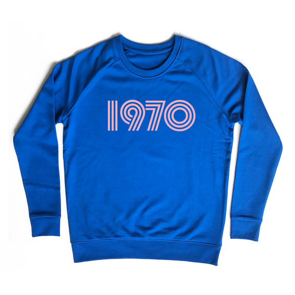 1970 Ladies Sweatshirt Electric Blue ** S left**
