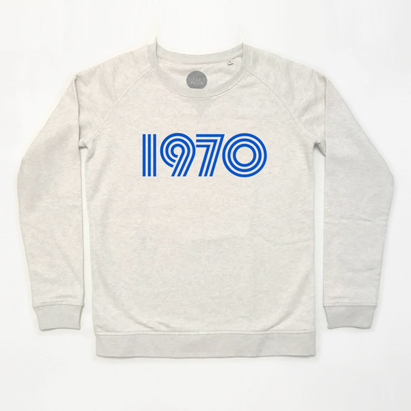 1970 Ladies Sweatshirt Cream Marl Blue Print x XS & L left xx