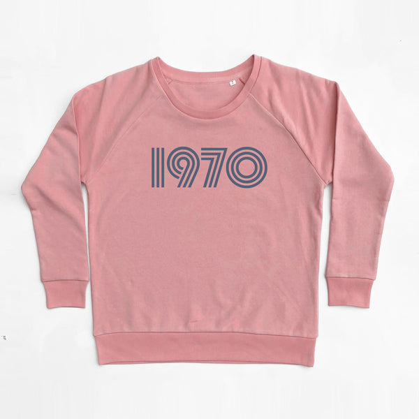 1970 Ladies Sweatshirt Dusty Pink Loose Fit