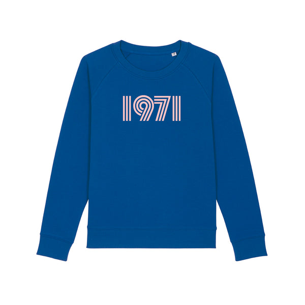 1971 Ladies Slim Fit Sweatshirt Electric Blue