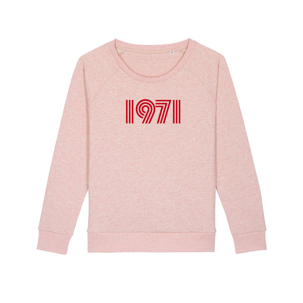 1971 Ladies Loose Fit Sweatshirt Pale Pink Marl