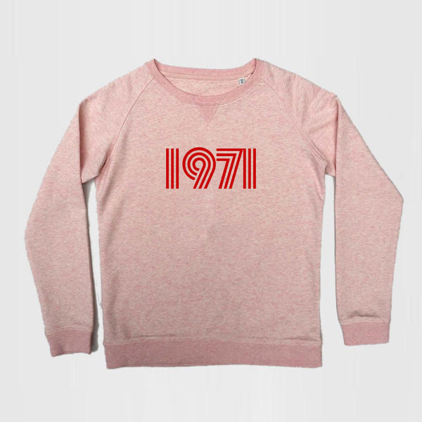 1971 Ladies Slim Fit Sweatshirt Pale Pink Marl
