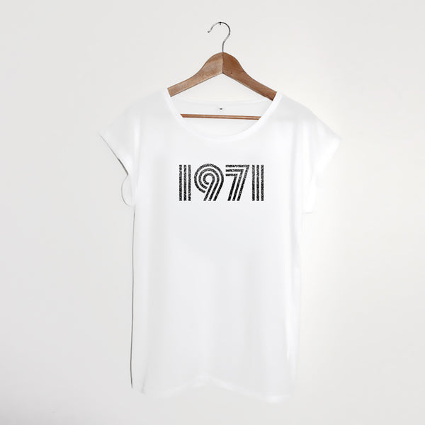 1971 White / Sparkly Grey Ladies T-shirt
