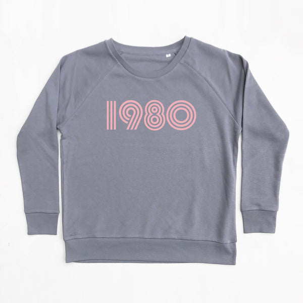 1980 Ladies Sweatshirt Slate Grey Loose Fit