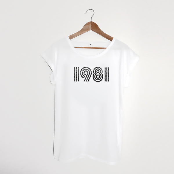 1981 White / Sparkly Grey Ladies T-shirt