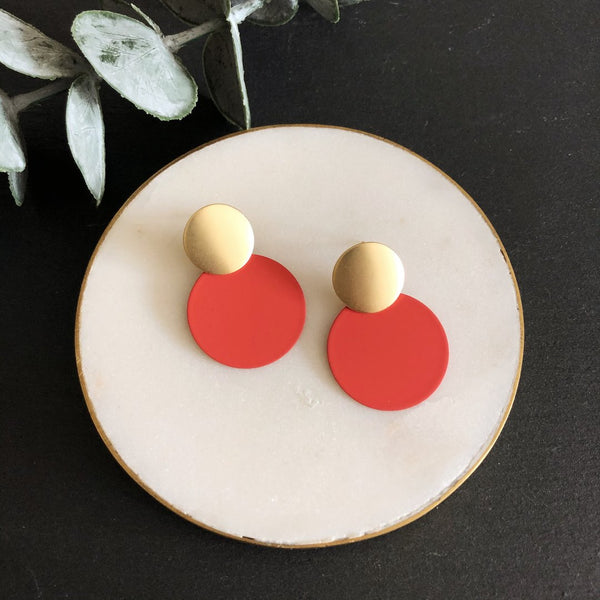 Matte Coral Disc Earrings Jack & Freda
