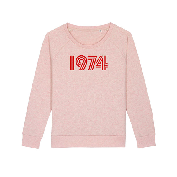 1974 Ladies Loose Fit Sweatshirt Pale Pink Marl