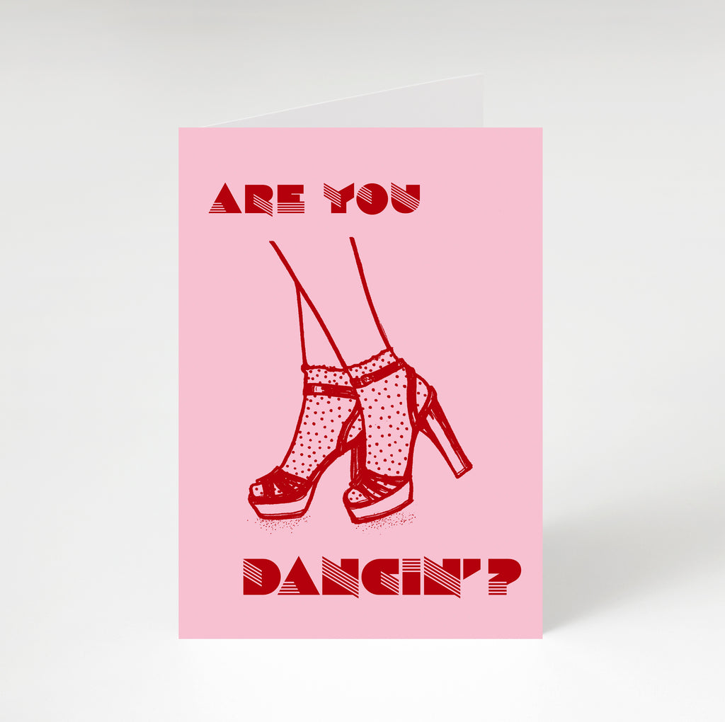 Are You Dancin' ? Greetings Card Pink