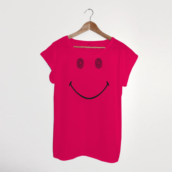 Disco Smile Ladies Tshirt Bright Pink
