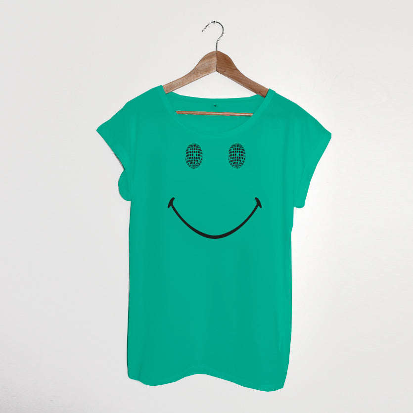 Disco Smile Ladies Tshirt Turquoise