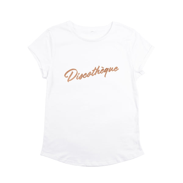 Discotheque White Ladies T-Shirt with Rose Gold Print