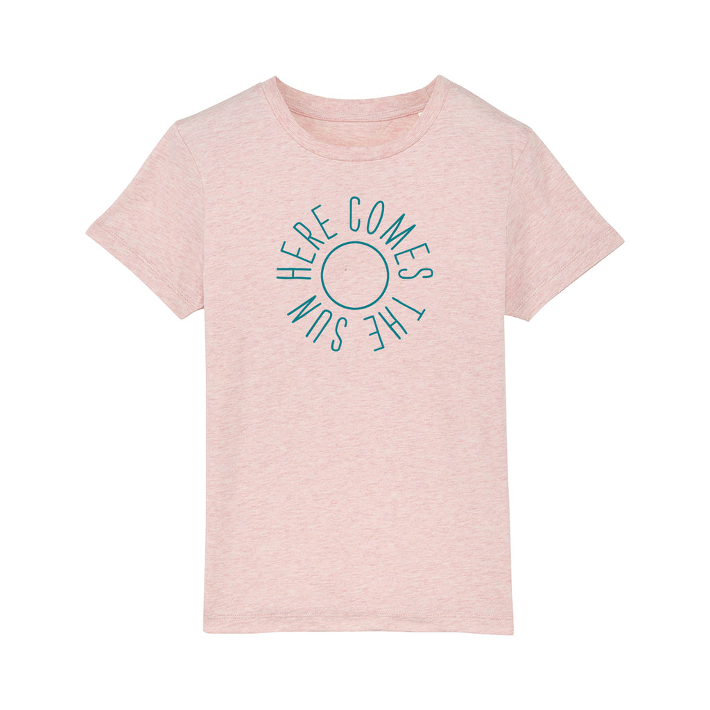 Here Comes The Sun Kids Tshirt Pale Pink