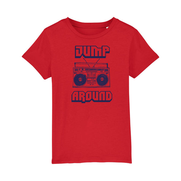 Jump Around Kids Tshirt Red with Navy Print