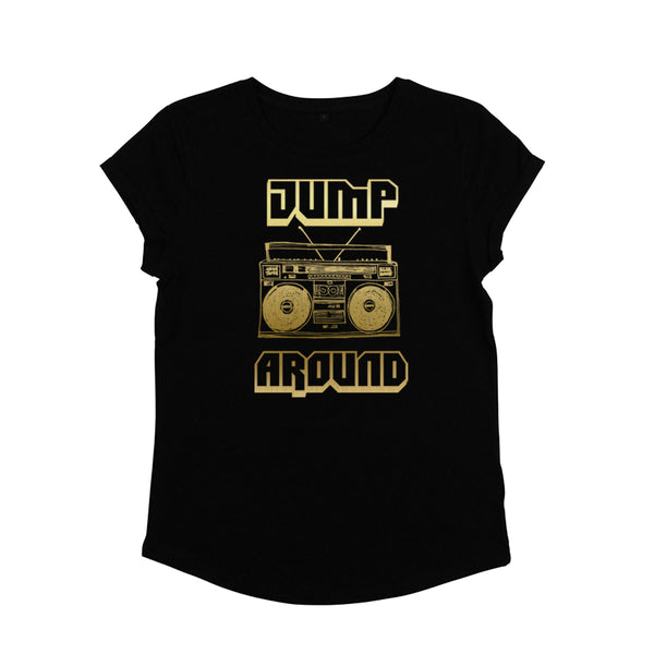 Jump Around Black / Gold Ladies T-shirt